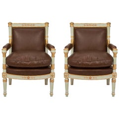 Pair of Italian Early 19th Century Neoclassical Style Armchairs