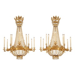 Pair of Italian Early 19th Century Neoclassical Style Chandeliers