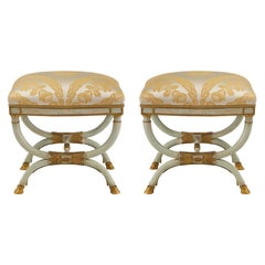 Pair of Italian Early 19th Century Neoclassical Style Patinated and Gilt Benches