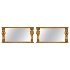 Pair of Italian Early 19th Century Patinated and Giltwood Mirrors