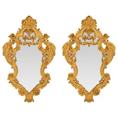 Pair of Italian Early 19th Century Régence St. Giltwood Mirrors