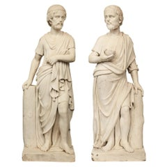Pair of Italian Early 19th Century White Carrara Marble Statues