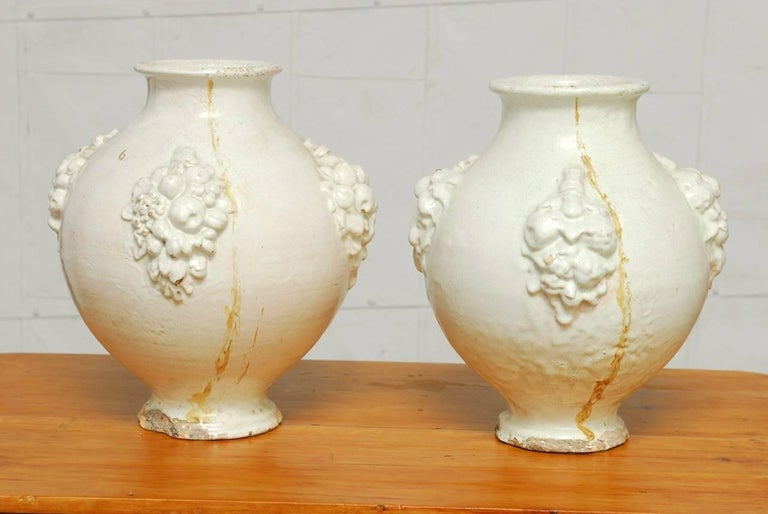 Pair of Italian Earthenware Pottery Jars For Sale 6