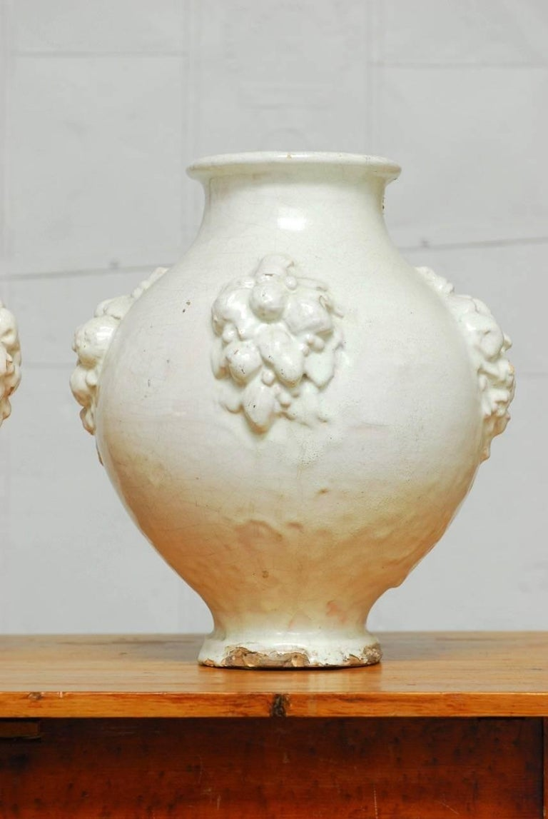 Rustic Pair of Italian Earthenware Pottery Jars For Sale