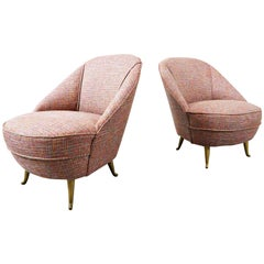 Pair of Italian Mid-Century Modern Easy Chairs, 1950s, New Upholstery