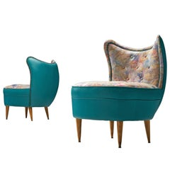 Pair of Italian Easy Chairs in Turqouoise Leatherette