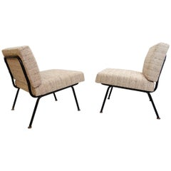 Pair of Italian Easy Chairs with a Black Tubular Steel Frame, New Upholstery