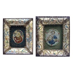 Pair of Italian Embroidered Silk Frames 18th Century with Salt Dough Saints