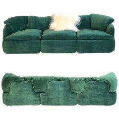 Pair of Italian Emerald Green Mohair Sofas by Alberto Rosselli for Saporiti