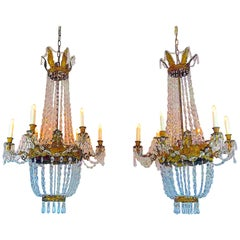 Pair of Empire Crystal Chandeliers Early 19th Century Italian Genoese Pendants
