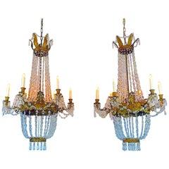 Pair of Italian Empire Chandeliers Early 19th Century Crystal Genoese Pendants
