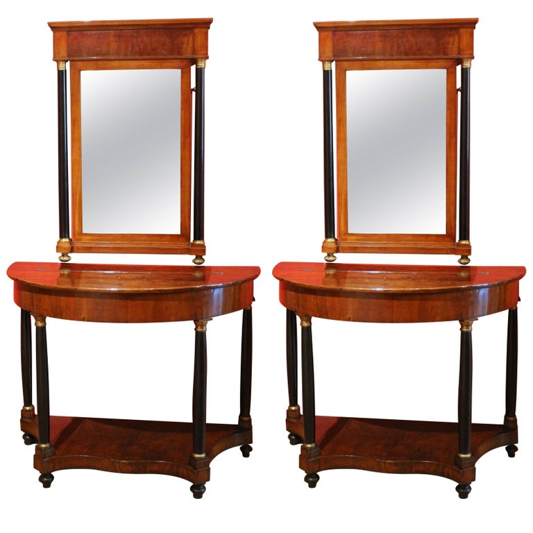 Pair of Italian Empire Period Walnut Demilune Console Table with Mirror