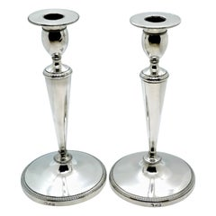 Pair of Italian Empire Silver Candlesticks, Milan, circa 1810