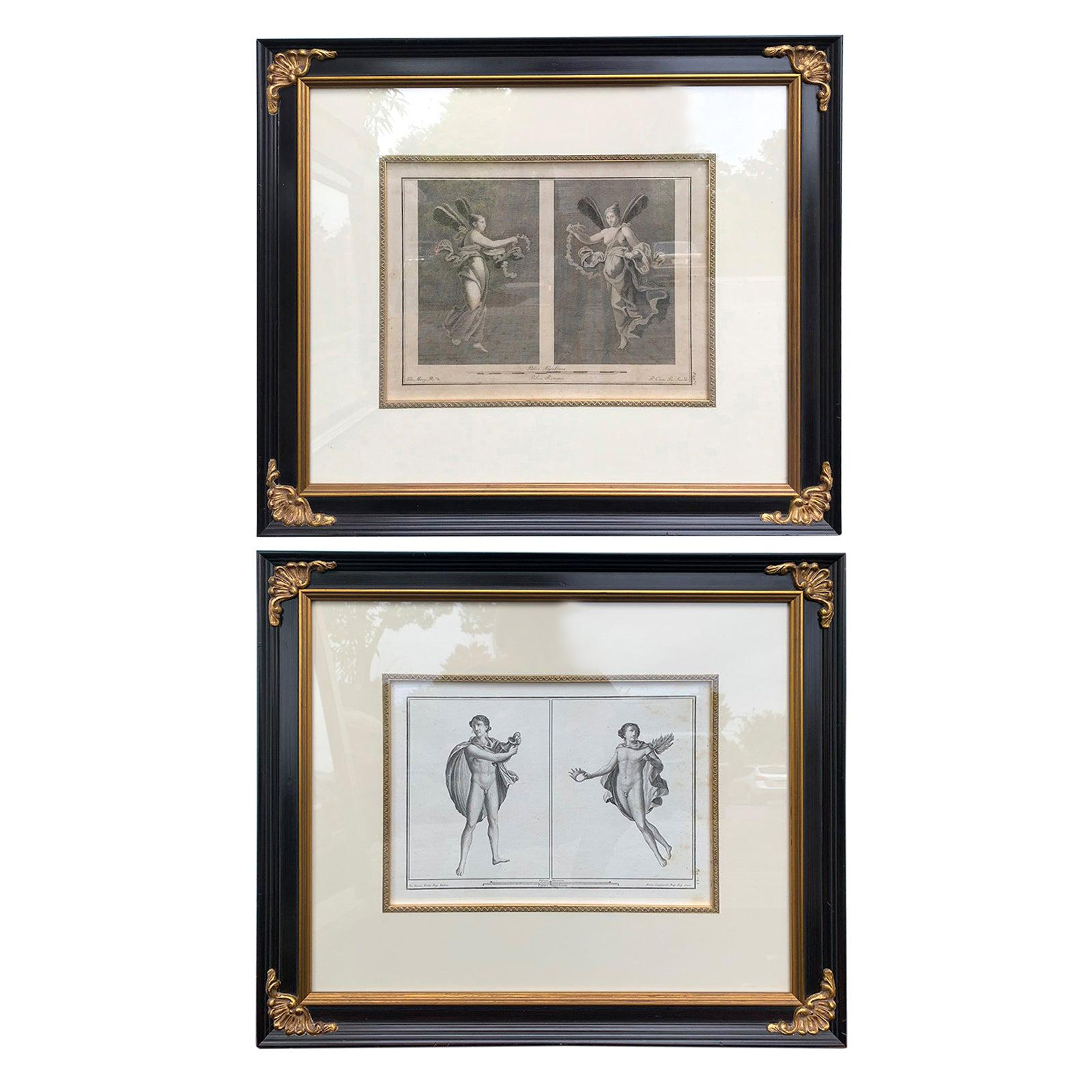 Pair of Italian Engravings of Ruins of Herculaneum by Giovanni Morghen