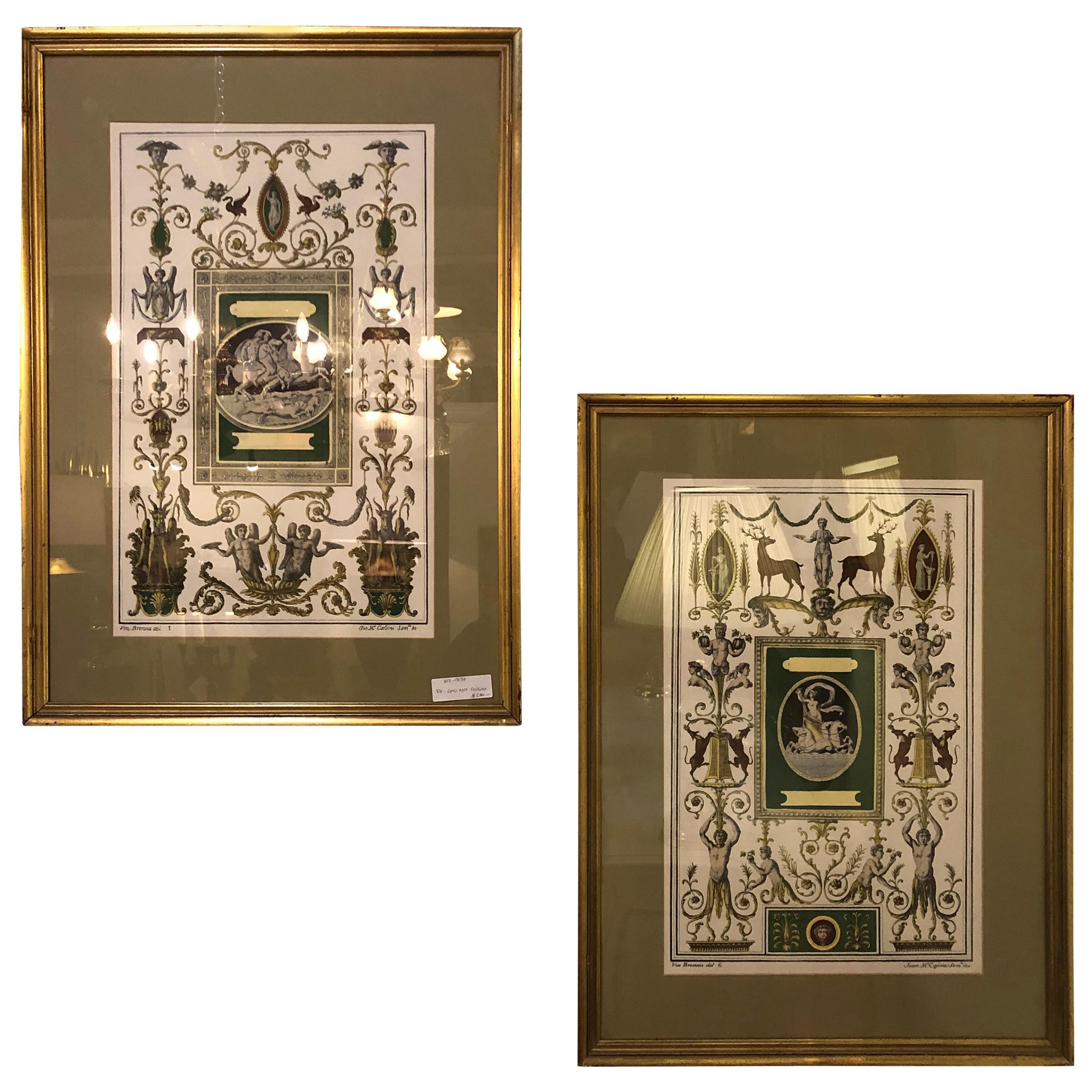 Pair of Italian Engravings Signed Gio Ma Calsini in Gilt Frames