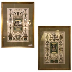 Pair of Italian Engravings Signed Gio Ma Calsini in Gilt Frames
