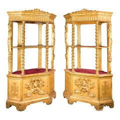 Pair of Italian Étagères Shelves, Italy, 19th Century, Napoleon III Gilded Wood