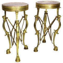 Pair of Italian Etruscan, Pompeiian Style Bronze and Marble Gueridon Side-Tables