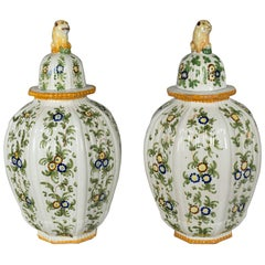 Pair of Italian Faience Urns