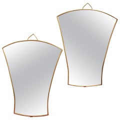 Pair of Italian Fan-Shaped Wall Mirrors with Brass Frames, Small 'circa 1950s'