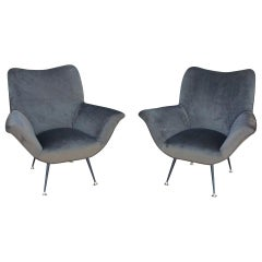 Pair of Italian Flared Armchairs