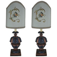 Pair of Italian Florentine Blue Rose Table Lamps by Bartolozzi Maioli, 1980