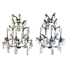 Pair of Italian Foliate Iron and Crystal Sconces