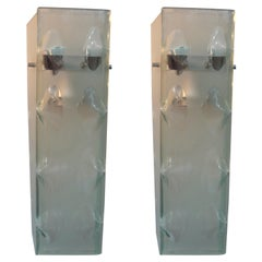 Pair of Italian Fontana Arte Inspired Glass Sconces