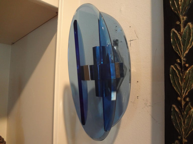 Mid-20th Century Pair of Italian Fontana Arte Style Blue Glass Sconces For Sale