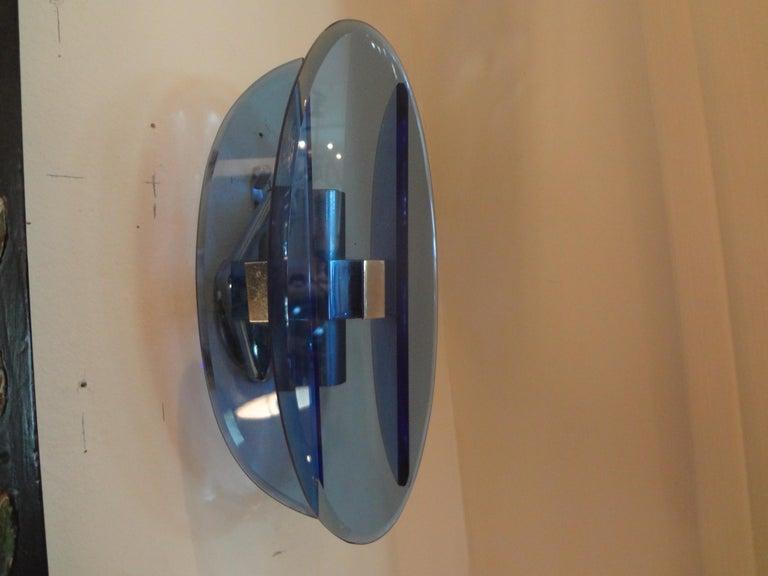Pair of Italian Fontana Arte Style Blue Glass Sconces For Sale 1