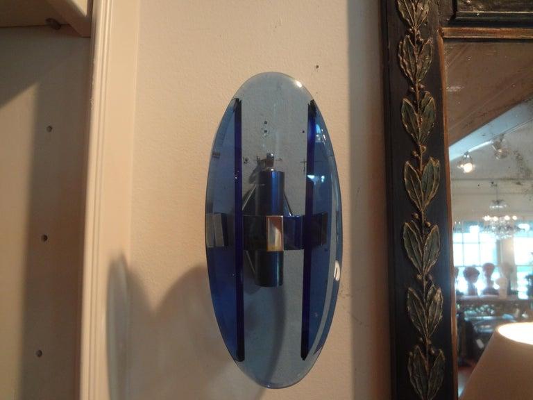 Pair of Italian Fontana Arte Style Blue Glass Sconces For Sale 2