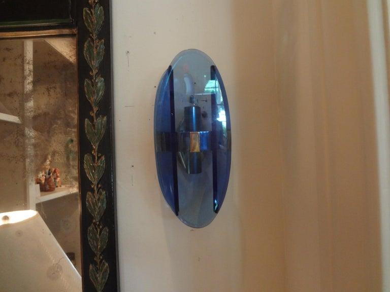 Pair of Italian Fontana Arte Style Blue Glass Sconces For Sale 3