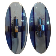 Pair of Italian Fontana Arte Style Blue Glass Sconces