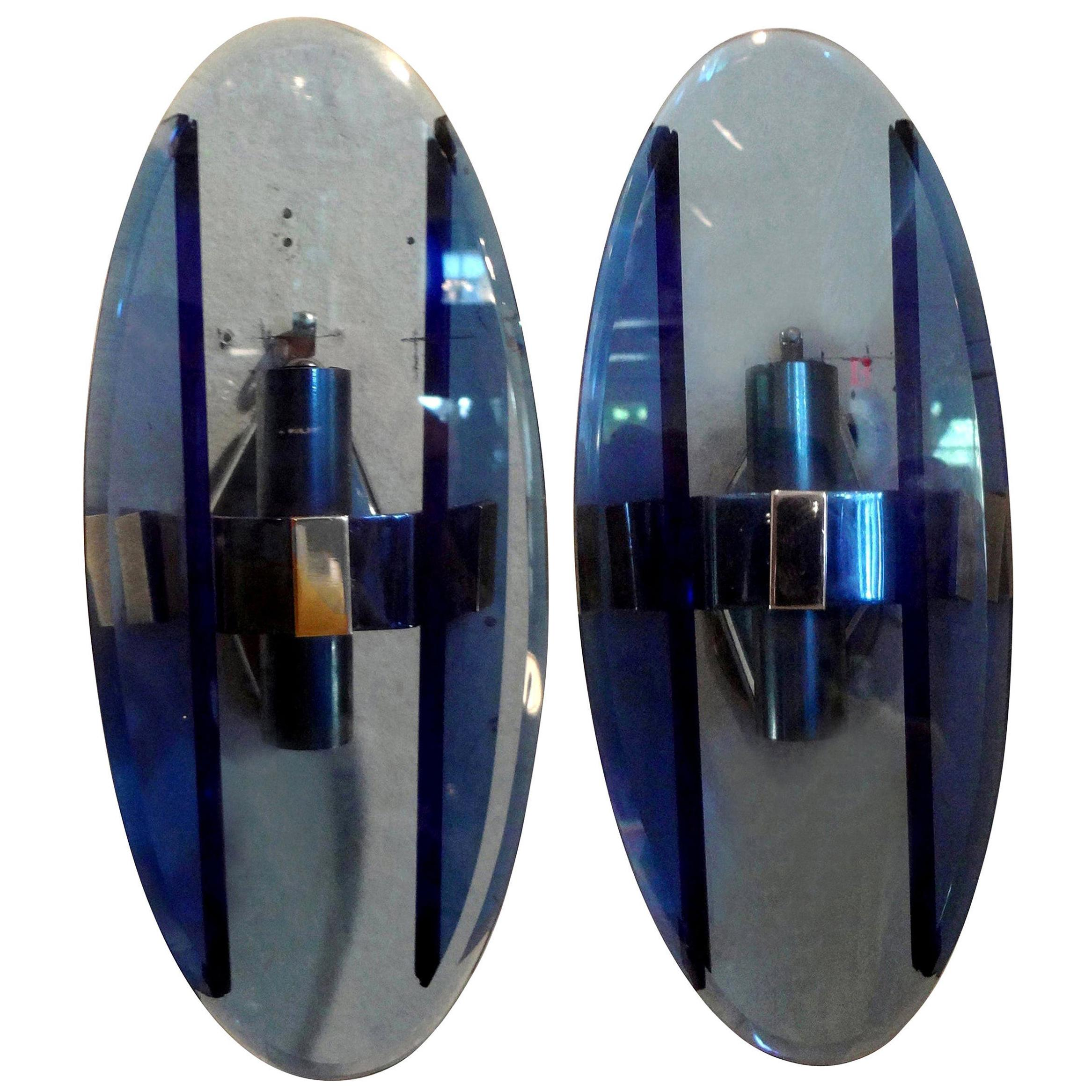 Pair of Italian Fontana Arte Style Blue Glass Sconces