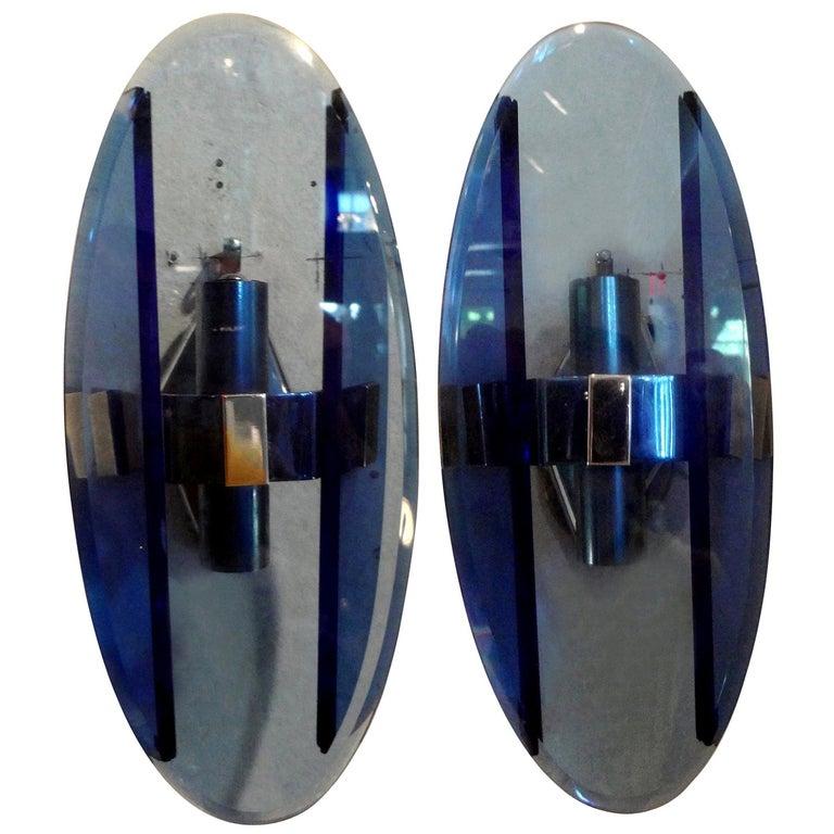 Pair of Italian Fontana Arte Style Blue Glass Sconces For Sale