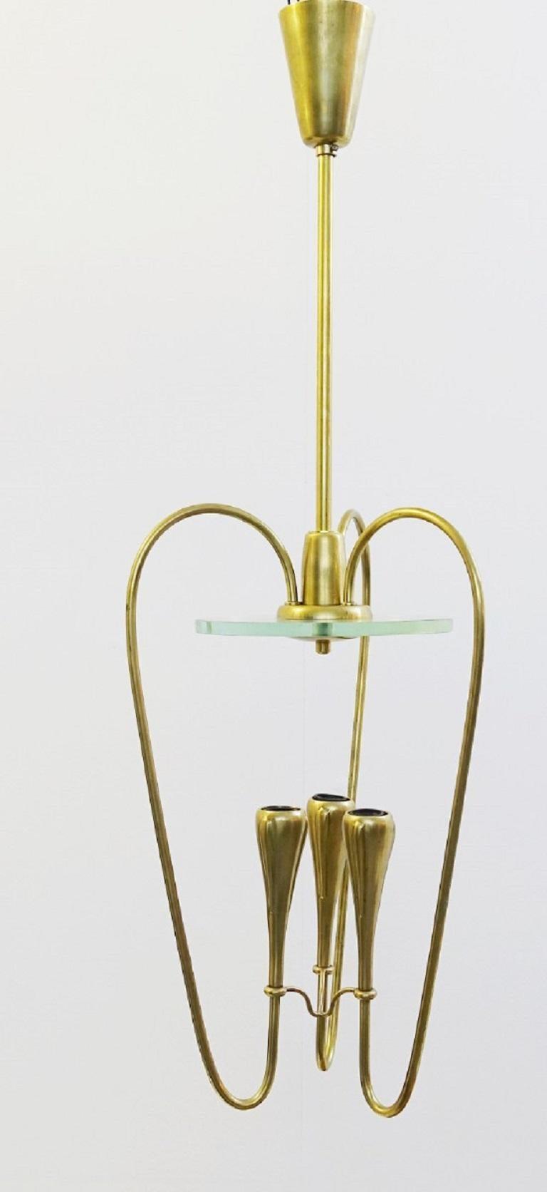 Mid-Century Modern Pair of Italian Fontana Arte Style Brass and Glass Pendants Light, Italy, 1970s For Sale
