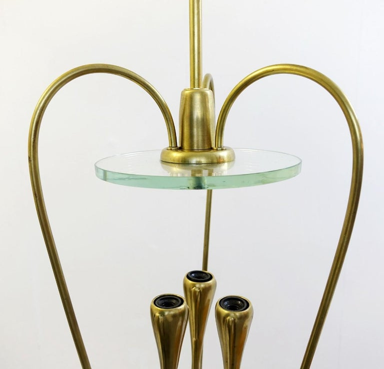 Pair of Italian Fontana Arte Style Brass and Glass Pendants Light, Italy, 1970s In Good Condition For Sale In Brussels, BE