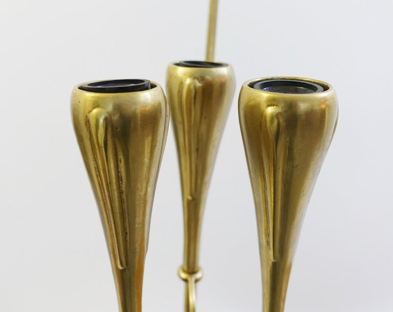 Late 20th Century Pair of Italian Fontana Arte Style Brass and Glass Pendants Light, Italy, 1970s For Sale