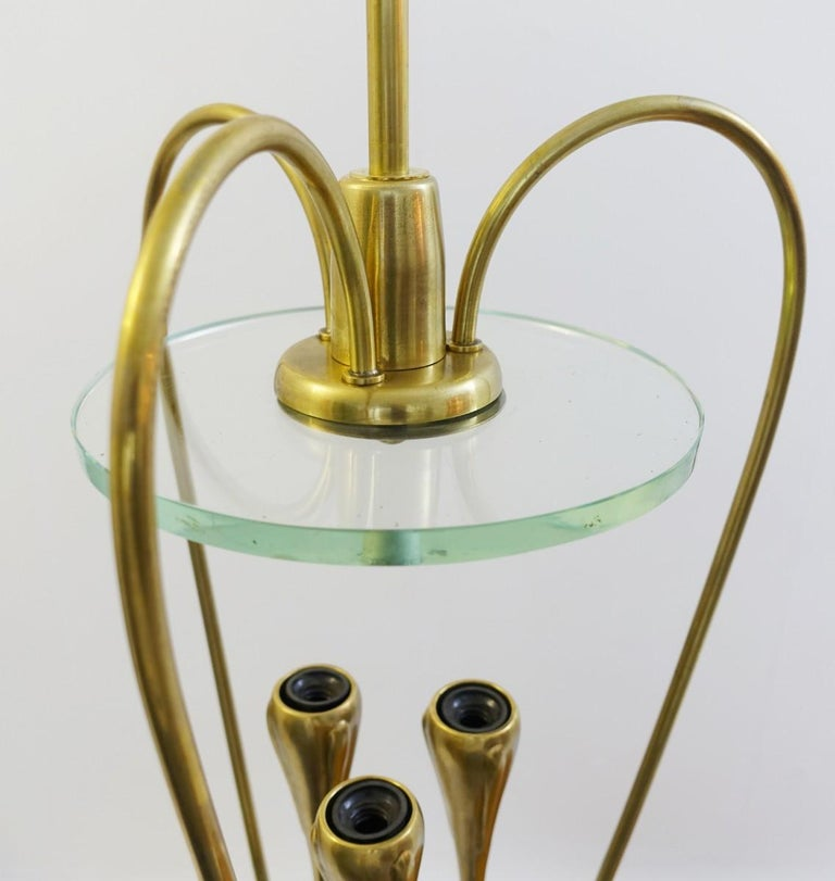 Pair of Italian Fontana Arte Style Brass and Glass Pendants Light, Italy, 1970s For Sale 2