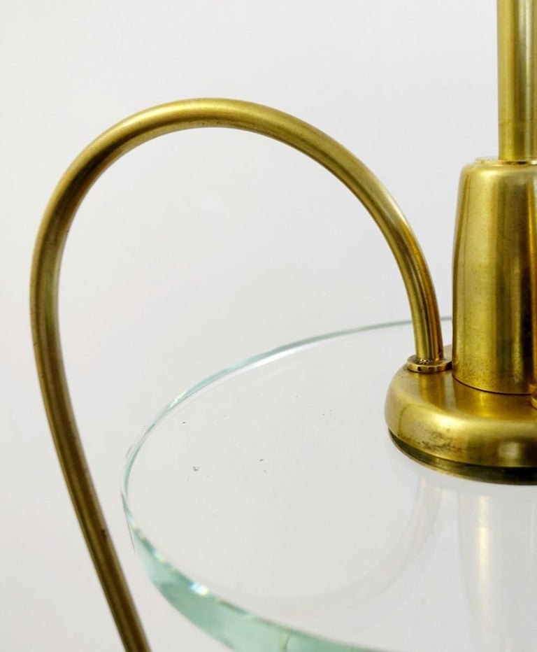 Pair of Italian Fontana Arte Style Brass and Glass Pendants Light, Italy, 1970s For Sale 4