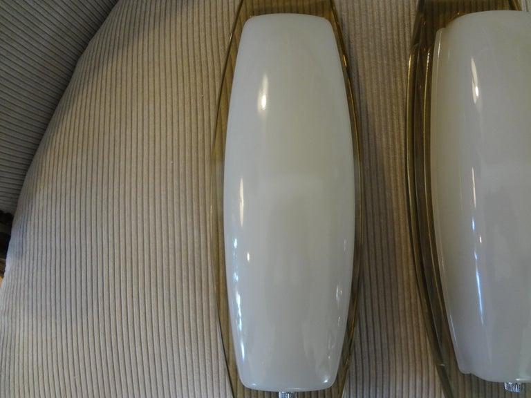 Pair of Italian Fontana Arte Style Glass Sconces For Sale 1