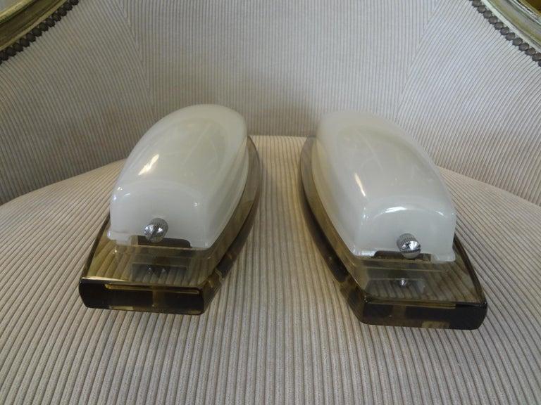 Pair of Italian Fontana Arte Style Glass Sconces For Sale 4