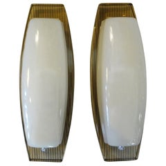Pair of Italian Fontana Arte Style Glass Sconces