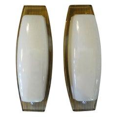 Pair of Italian Fontana Arte Style Glass Sconces
