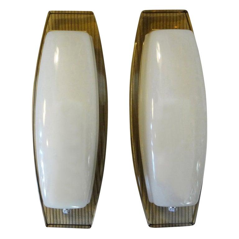 Pair of Italian Fontana Arte Style Glass Sconces For Sale