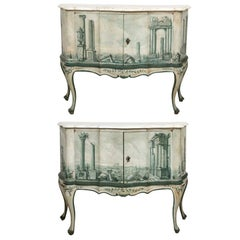 Pair of Italian Fornasetti Style Marble-Topped Commodes