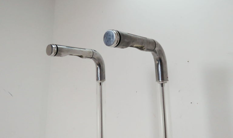 Pair of Italian Foscarini Floor Lamps in Glass and Aluminum In Good Condition For Sale In Peabody, MA