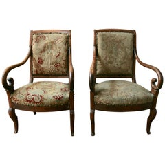 Pair of 19 th Century  Italian Fruitwood Chairs