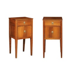 Pair of Italian Fruitwood Single-Drawer and Door Bedside Tables, circa 1850