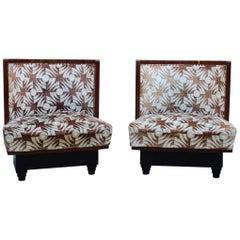 Pair of Italian Futurist Bedroom Armchairs 1930 Atelier Borsani Attributed